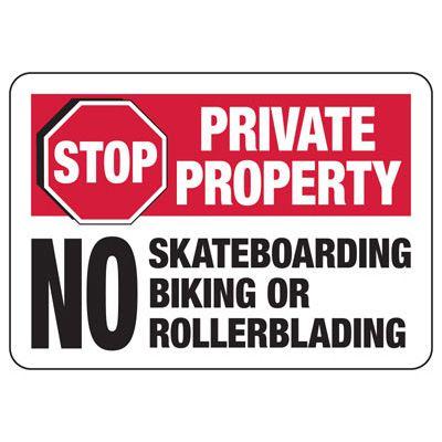 Stop No Skateboarding Biking Rollerblading - Restriction Signs