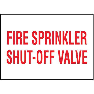 Fire Sprinkler Shut-Off Valve Self-Adhesive Vinyl Fire Equipment Signs