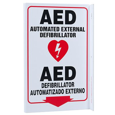 AED Bilingual L-Style Sign