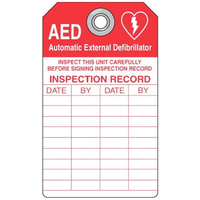 AED Tag Inspect This Unit Carefully - 3W x 5-3/4H