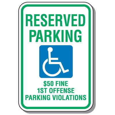 Alabama State Handicap Signs - Reserved Parking $50 Fine