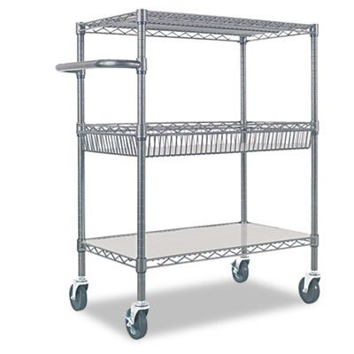 Alera® Wire Shelving Three-Tier Rolling Cart ALESW543018BA