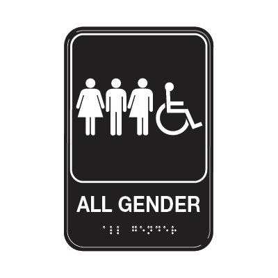 All Gender W/ Accessibility - Graphic ADA Braille Tactile Signs