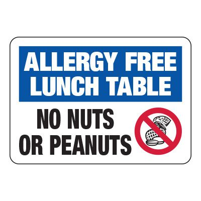 Allergy Free Lunch Table No Nuts/Peanuts - Food Allergy Signs