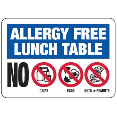 Allergy Free Table No Dairy, Eggs, Nuts - Food Allergy Signs