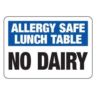 Allergy Safe Lunch Table No Dairy  - School Allergy Signs