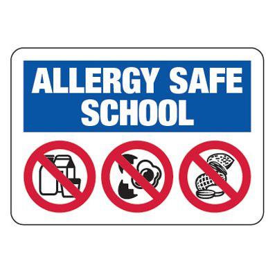 Allergy Safe School No Dairy, Eggs, Nuts  - School Allergy Signs