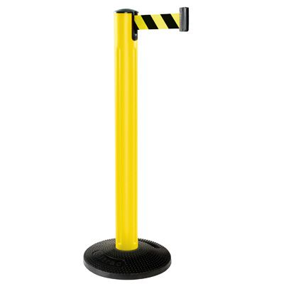 Beltrac® All Weather Stanchion - Yellow Post with Rubber Base