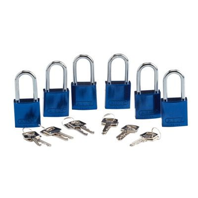 Brady Keyed Alike Aluminum One and Half inch Shackle Locks - Blue - Part Number - 105883 - 6/Pack
