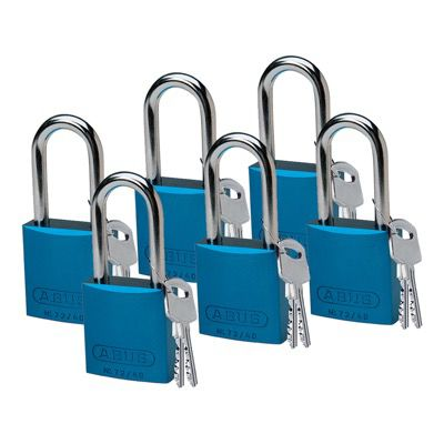Brady Keyed Different Aluminum One and Half Inch Shackle Locks - Blue - Part Number - 51371 - 6/Pack