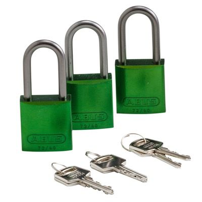 Brady Keyed Alike Aluminum One and Half inch Shackle Locks - Green - Part Number - 105881 - 3/Pack