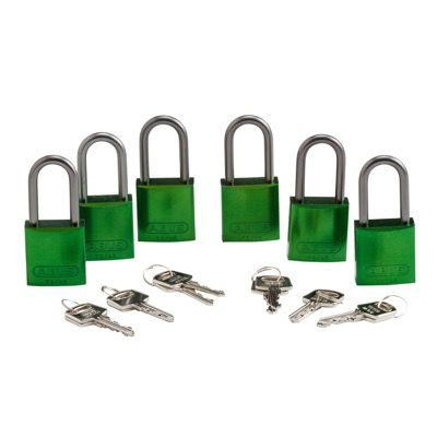 Brady Keyed Alike Aluminum One and Half inch Shackle Locks - Green - Part Number - 105885 - 6/Pack