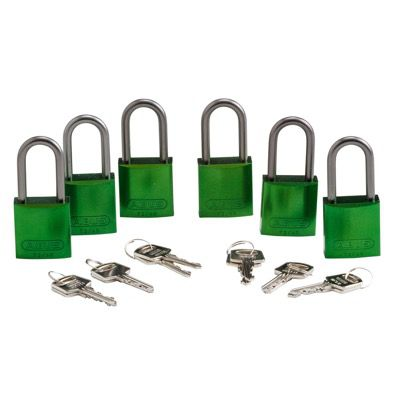 Brady Keyed Different Aluminum One and Half Inch Shackle Locks - Green - Part Number - 51376 - 6/Pack
