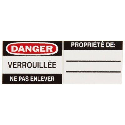 Brady Aluminum Padlock Label - Danger Verrouillee Ne Pas Enlever - Part Number - 50293 - 6/Pack