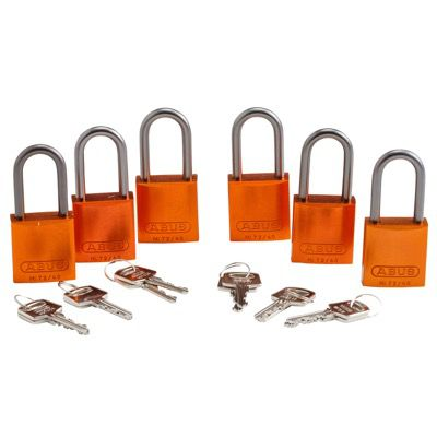Brady Keyed Different Aluminum One and Half Inch Shackle Locks - Orange - Part Number - 51378 - 6/Pack