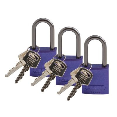 Brady Keyed Alike Aluminum One and Half inch Shackle Locks - Purple - Part Number - 123435 - 3/Pack