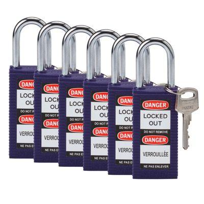 Brady Keyed Alike Aluminum One and Half inch Shackle Locks - Purple - Part Number - 123440 - 6/Pack