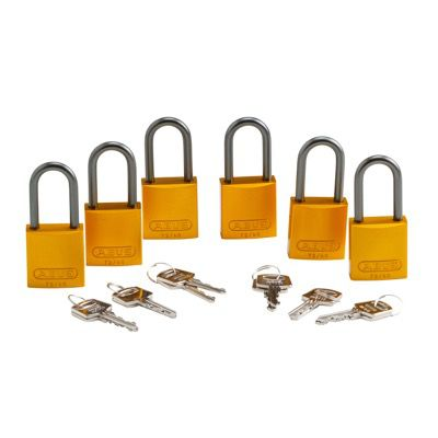 Brady Keyed Alike Aluminum One and Half inch Shackle Locks - Yellow - Part Number - 105884 - 6/Pack