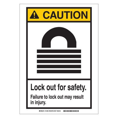 Brady ANSI Sign - Caution - Lockout For Safety - Self Sticking Polyester - Part Number - 144497 - 1/Each