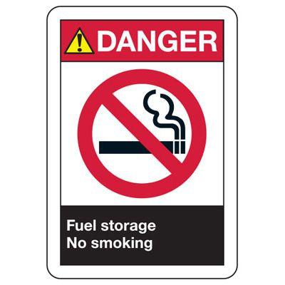 ANSI Signs - Danger Fuel Storage, No Smoking