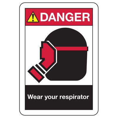 ANSI Safety Signs - Danger Wear Your Respirator
