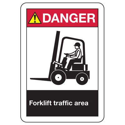 ANSI Safety Signs - Danger Forklift Traffic Area