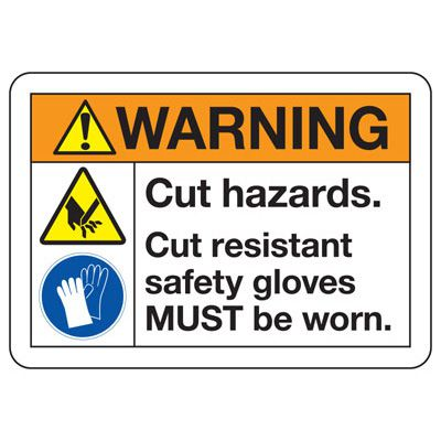 ANSI Z535 Safety Signs - Warning Cut Hazards
