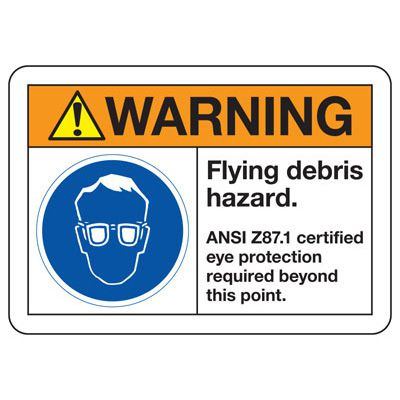 ANSI Z535 Safety Signs - Warning Flying Debris Hazard