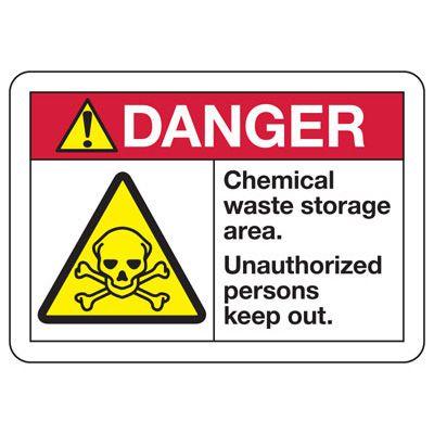ANSI Z535 Safety Signs - Danger Chemical Storage Waste
