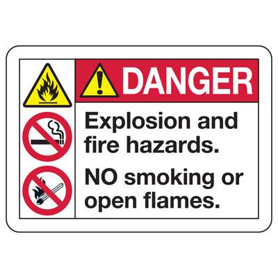 ANSI Z535 Safety Signs - Danger Explosion And Fire