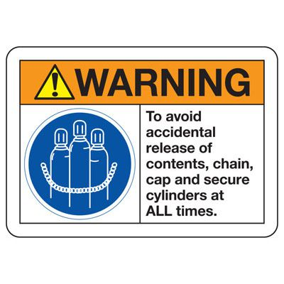 ANSI Z535 Safety Signs - Warning Avoid Accidental Release