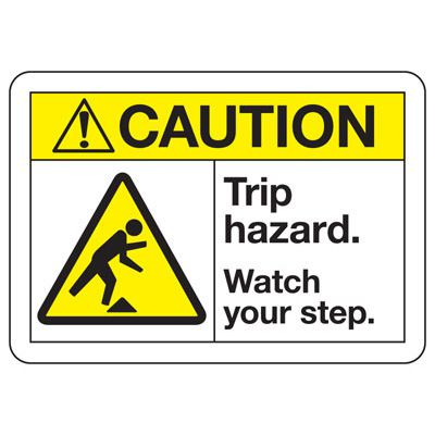ANSI Z535 Safety Signs - Caution Trip Hazard