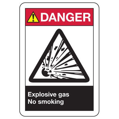 ANSI Z535.2-2011 Safety Signs - Danger Explosive Gas No Smoking