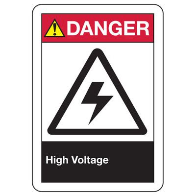 ANSI Z535 Safety Signs - Danger High Voltage