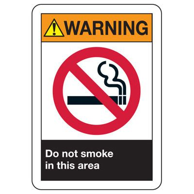 ANSI Z535 Safety Signs - Warning Do Not Smoke