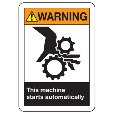 ANSI Z535.2-2011 Safety Signs - Warning Machine Starts Automatically