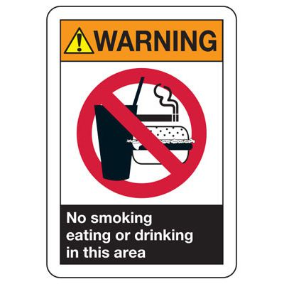 ANSI Z535 Safety Signs - Warning No Smoking Eating Drinking