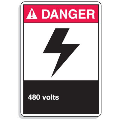 ANSI Z535.2-2011 Safety Signs - Danger 480 Volts