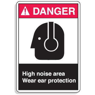 ANSI Z535.2-2011 Safety Signs - Danger High Noise Area Wear Ear Protection