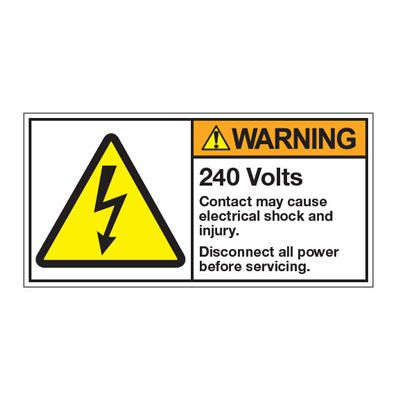 ANSI Z535 Safety Labels - 240V May Cause Electrical Shock
