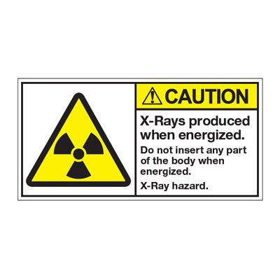 ANSI Z535 Safety Labels - Caution X-Rays Produced When Energized