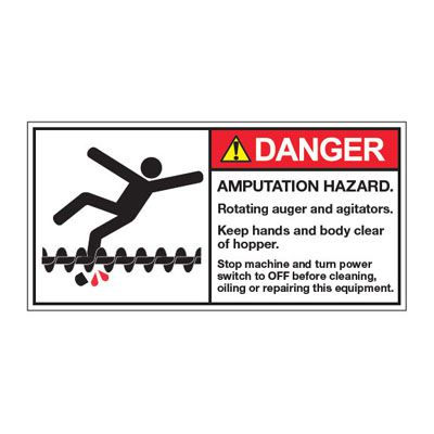 ANSI Z535 Safety Labels - Danger Amputation Hazard