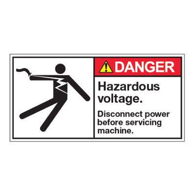 ANSI Z535 Safety Labels - Danger Hazardous Voltage