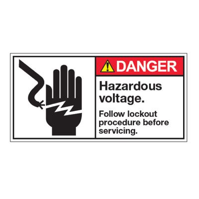 ANSI Z535 Safety Labels - Hazardous Voltage  Follow Lockout Procedure