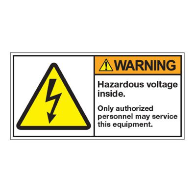 ANSI Z535 Safety Labels - Hazardous Voltage Inside