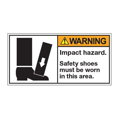 ANSI Z535 Safety Labels - Impact Hazard Wear Safety Shoes