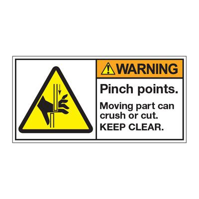 ANSI Z535 Safety Labels - Pinch Points Keep Clear