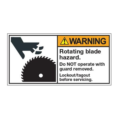 ANSI Z535 Safety Labels - Rotating Blade Lockout/Tagout Before Service