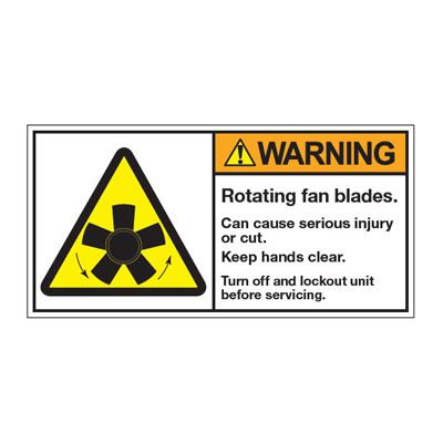 ANSI Z535 Safety Labels - Rotating Fan Blades