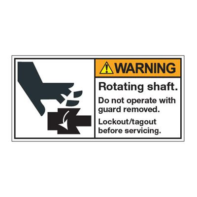 ANSI Z535 Safety Labels - Rotating Shaft Lockout/Tagout Before Service